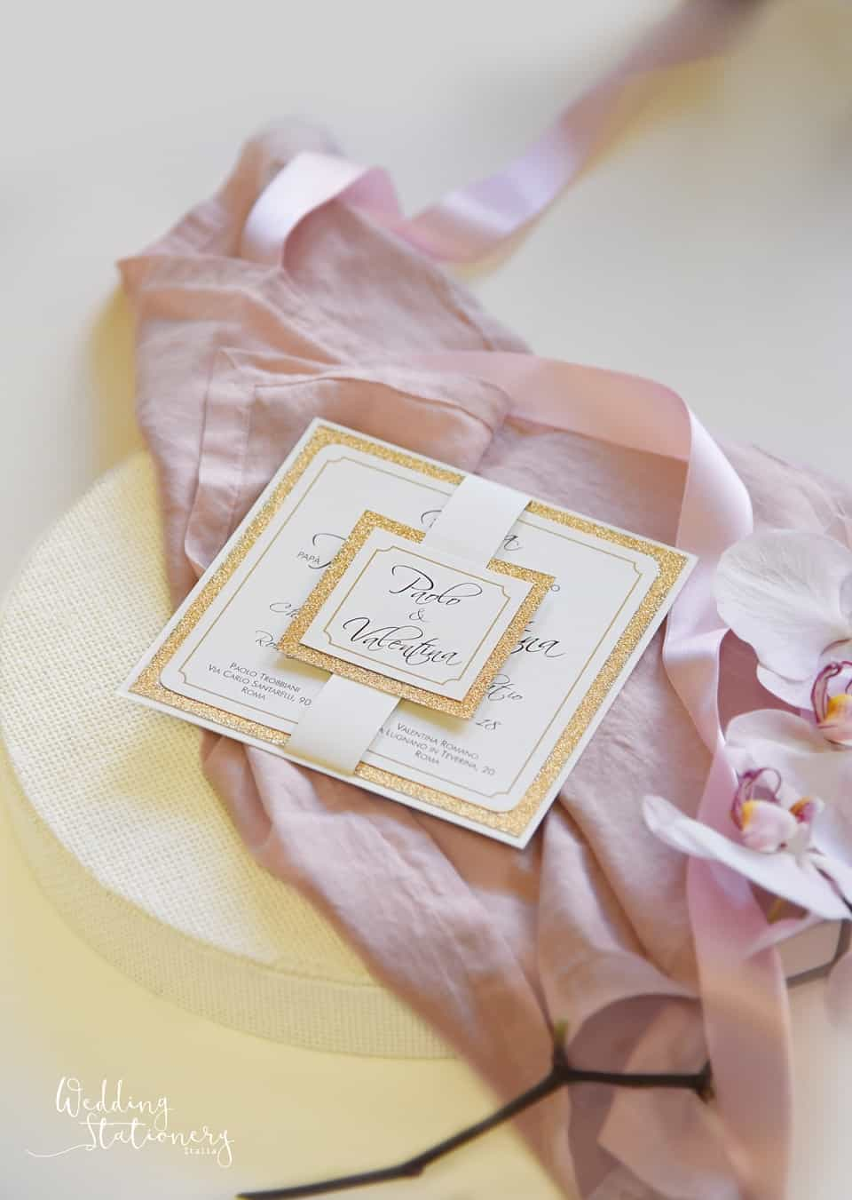 wedding stationery rosa e oro